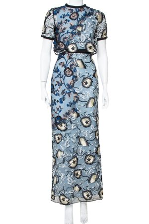 Self-Portrait Floral Embroidered Layered Florentine Maxi Dress M