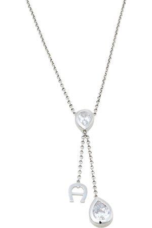 Aigner Crystal Embellished Logo Pendant Tone Necklace