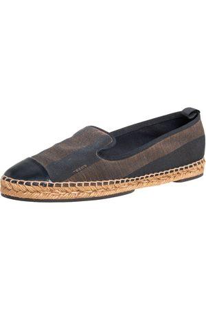 Fendi /Brown Canvas and Leather Cap Toe Espadrilles Flats 41