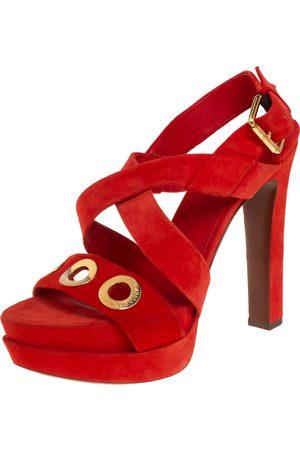 LOUIS VUITTON Suede Criss Cross Platform Ankle Strap Sandals Size 40