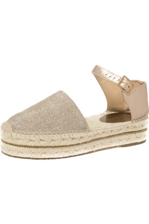 Jimmy Choo Metallic Gold/ Shimmery Fabric and Leather Ankle Strap Espadrille Platform Sandals Size 39