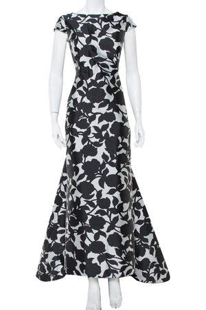 Carolina Herrera CH Monochrome Printed Scoop Back Sleeveless Gown L