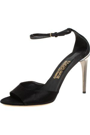Salvatore Ferragamo Satin Embellished Heel Ankle Strap Sandals Size 40