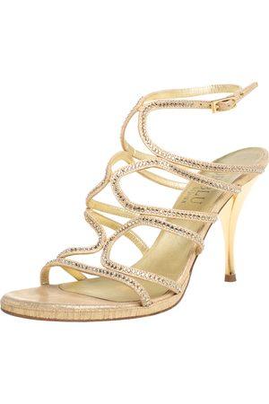 LORIBLU Suede Crystal Embellished Strappy Sandals Size 39