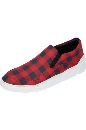 Dior Red Leather Check Slip-on Sneakers Size EU 42