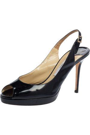Jimmy Choo Patent Leather Peep Toe Platform Sandals Size 39