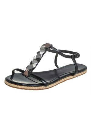Burberry Leather Westerdale T Strap Espadrille Flat Sandals Size 40