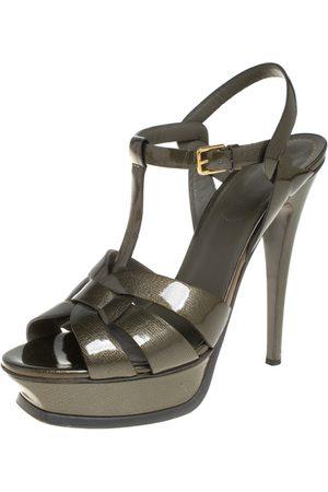 Saint Laurent Saint Laurent Olive Patent Leather Tribute Platform Ankle Strap Sandals Size 39.5