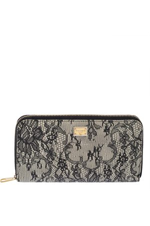 Dolce & Gabbana /White Lace Print Leather Zip Around Wallet