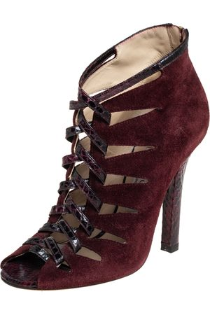 Jimmy Choo Burgundy Suede And Python Ankle Boots Size 37