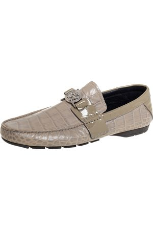 VERSACE Grey Croc Embossed Leather And Patent Leather Medusa Slip On Loafers Size 41