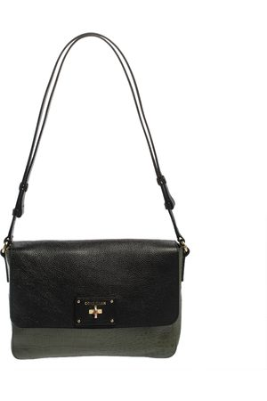 Cole Haan /Black Leather and Croc Embossed Leather Flap Shoulder Bag