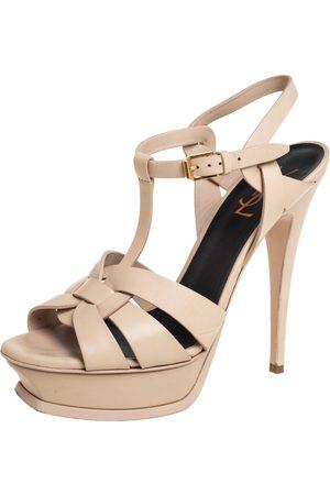 Saint Laurent Saint Laurent Leather Tribute Platform Ankle Strap Sandals Size 39