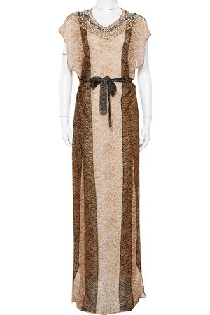 Missoni Lurex Knit Stone Embellished Sleeveless Belted Maxi Dress M