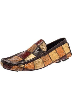 Dolce & Gabbana Patchwork Snakeskin Leather Loafers Size 41