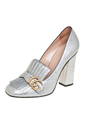 Gucci Crackle Leather GG Marmont Fringe Block Heel Pumps Size 40