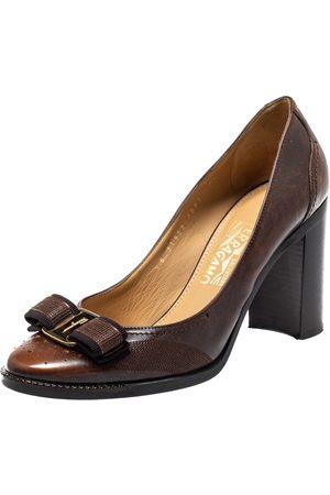 Salvatore Ferragamo Leather Vara Bow Block Heels Pumps Size 38