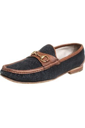Gucci /Brown Canvas And Leather 1955 Horsebit Slip On Loafers Size 43