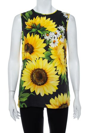 Dolce & Gabbana Sunflower Print Cotton Sleeveless Top S
