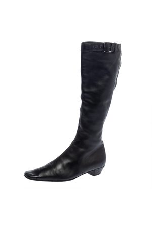 Gucci Leather Buckle Detail Square Toe Mid Calf Boots Size 37