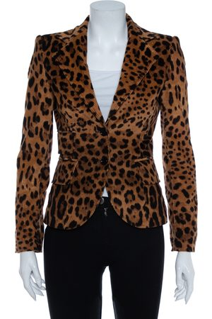 Dolce & Gabbana Vintage Leopard Print Corduroy Blazer S