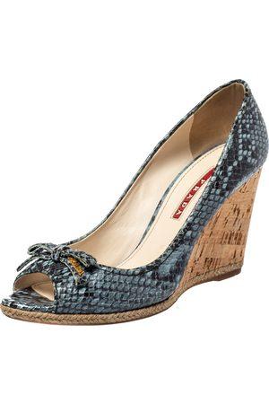 Prada /Black Python Embossed Leather Peep Toe Wedge Sandals Size 36