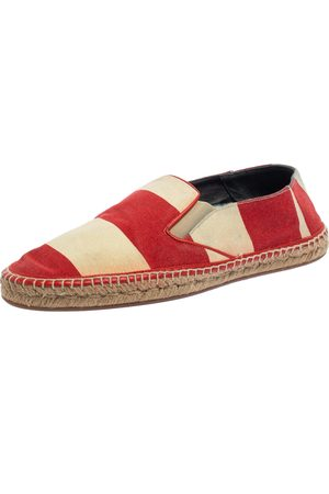 Burberry Two Tone Striped Canvas Hodgeson Espadrille Loafers Size 42