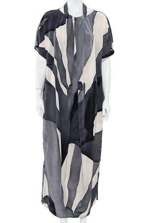 Max Mara Grey Abstract printed Silk Draped Neck Maxi Dress M