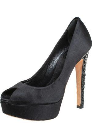 Dior Satin Cannage Heel Peep Toe Platform Pumps Size 36