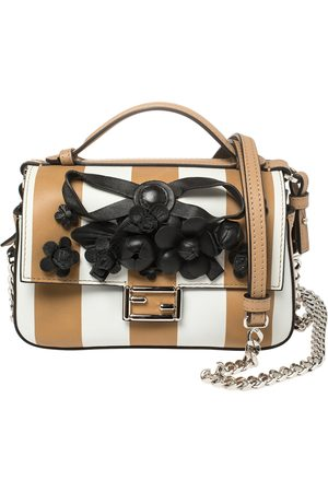 Fendi /Beige Striped Leather Double Micro Baguette Bag