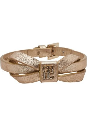 CH Carolina Herrera Metallic Leather Ribbon Bracelet