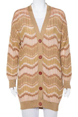 Missoni M Lurex Knit Wave Pattern Button Front Cardigan L