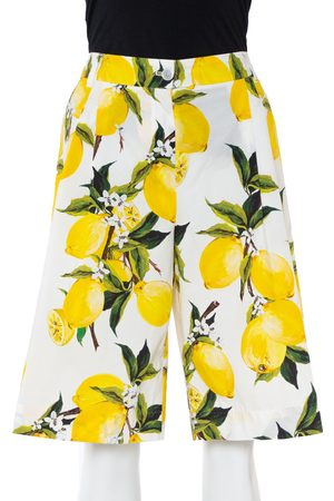 Dolce & Gabbana Lemon and Floral Printed Cotton Bermuda Shorts S