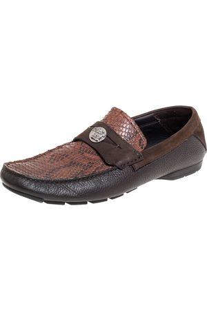 VERSACE Leather And Python Medusa Embellished Penny Slip On Loafers Size 41
