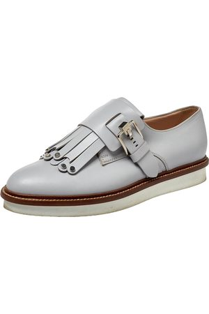 Tod's Grey Leather Studded Fringed Monk Strap Oxfords Size 38
