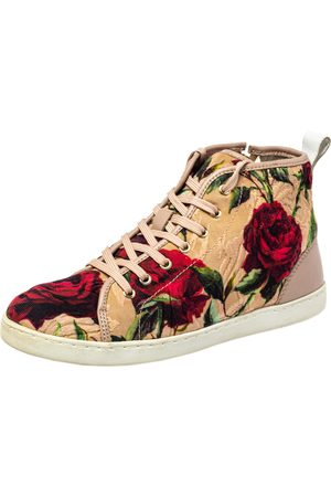 Dolce & Gabbana Floral Print Fabric And Leather Mid Top Sneakers Size 35