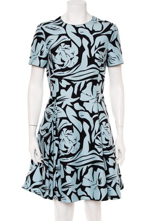 Dior Christian & Black Printed Cotton Pleated Mini Dress L