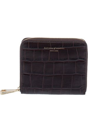 ASPINAL OF LONDON Dark Croc Embossed Leather Zip Around Compact Wallet