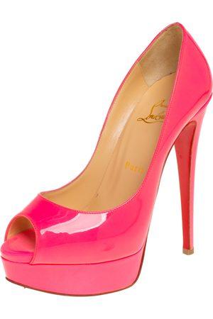Christian Louboutin Patent Leather Lady Peep Toe Platform Pumps Size 37.5