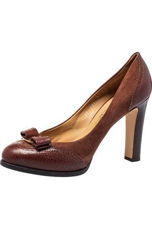 Salvatore Ferragamo Brogue Leather And Suede Bow Block Heel Pumps Size 40