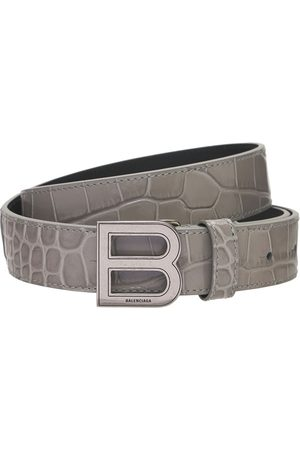 Balenciaga Women Belts - 25mm Hourglass Croc Emboss Leather Belt