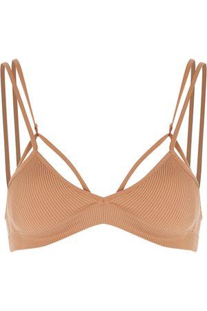 ANDREA ADAMO Women Tops - Camel ribbed stretch-jersey bra top