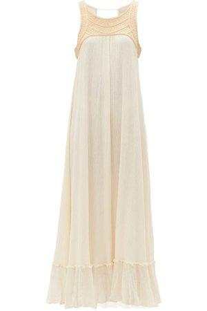 Mes Demoiselles Fabiola Embroidered Crinkle-crepe Maxi Dress - Womens - Ivory