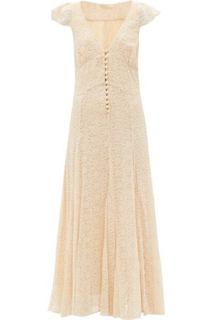 Mes Demoiselles Joanna Floral-embroidered Maxi Dress - Womens - Ivory