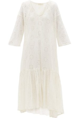 Mes Demoiselles Women Midi Dresses - Brodeuse Broderie-anglaise Cotton Dress - Womens - Ivory