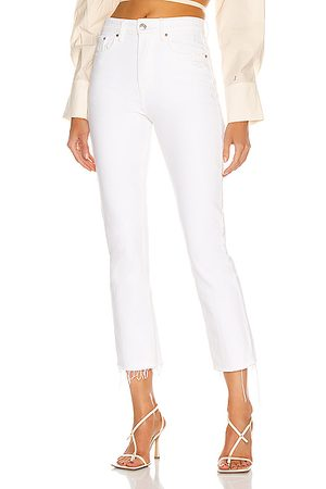 GRLFRND Women Karolina High Rise Straight Crop in White