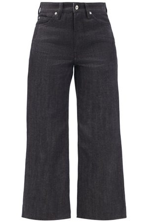 Jil Sander High-rise Flared-leg Cropped Jeans - Womens - Dark Denim