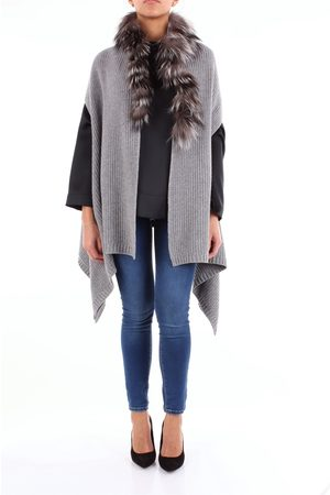 CLIPS Women Ponchos & Capes - Poncho Women Grey wool - viscose - nylon and cashmere
