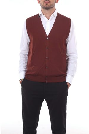 BARBA Men Tank Tops - Knitted vest Men Rust Wool
