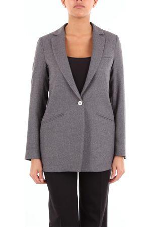 HANAMI D'OR Blazer Women Grey Polyester. viscose - wool and elastane